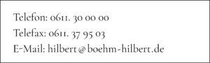 Rechtsanwaltskanzlei Böhm & Hilbert Mainzer Strasse 60, 65185 Wiesbaden